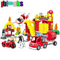 IBLOCKS Large Fire Station Car Firefighter Truck Big Blocks Compatible With DUPLO Enlighten Bricks Building Toys For Kids 2-6Y