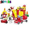 Iblocks gran estación de bomberos camión de bomberos coche grande enlighten bloques compatibles con duplo ladrillos de construcción juguetes para los niños 2-6y