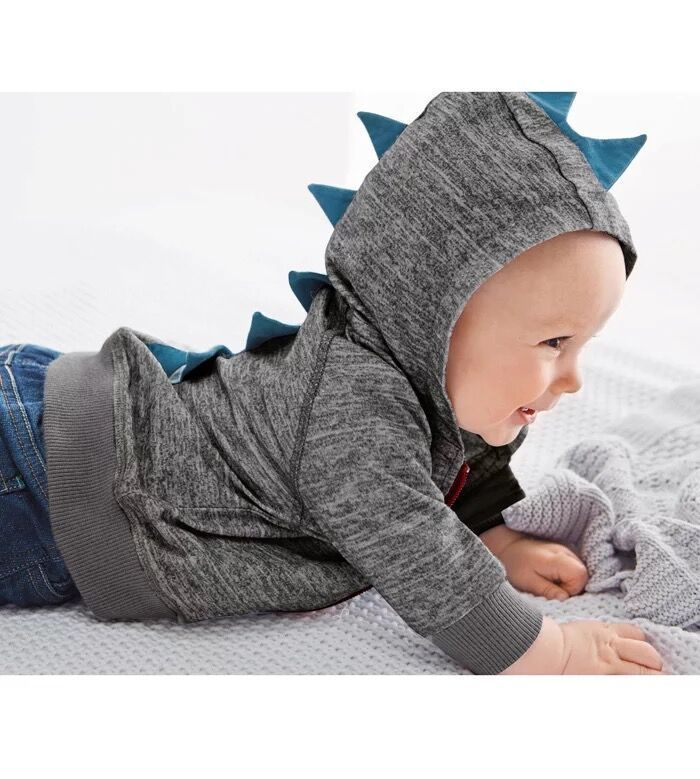 Fashion Dinosaurs Zipper Hoodie Coat Baby Boy Cardigan Animal Sudaderas Con Capucha Hoodies Baby Children's Sweatshirt