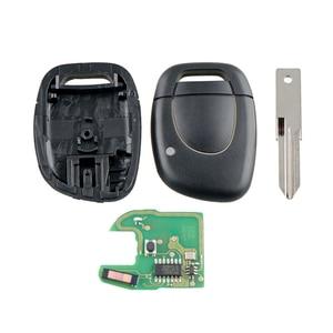 Image 1 - Dzanken 1 bouton télécommande voiture clé 433MHz PCF7946 pour Renault Master Clio Kangoo & transpondeur puce & lame non coupée