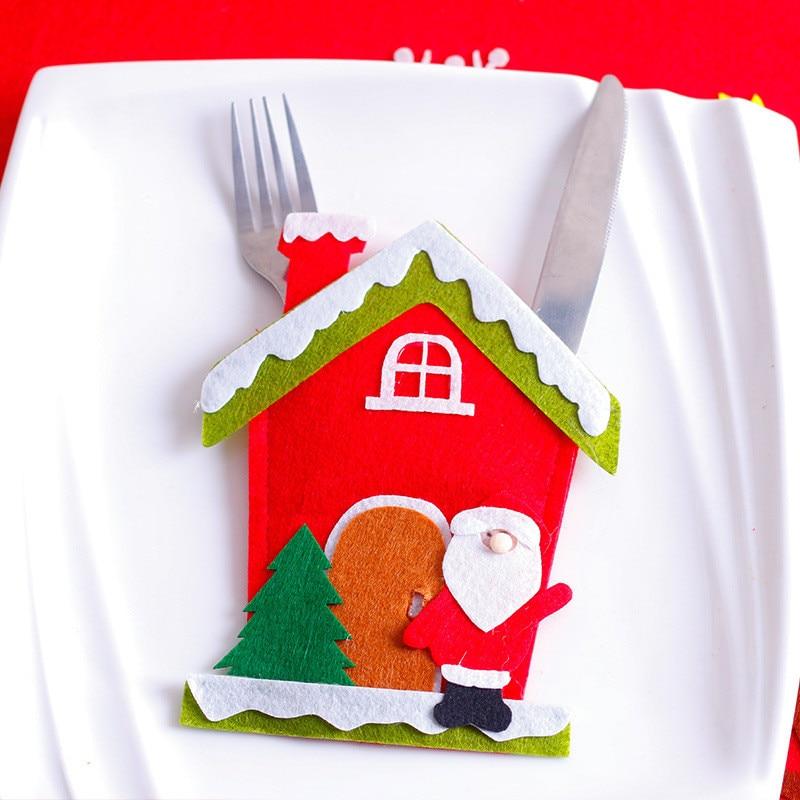 Шляпа Санты, олень, Рождество, Год, карманная вилка, нож, столовые приборы, держатель, сумка для дома, вечерние украшения стола, ужина, столовые приборы 62253 - Цвет: H2