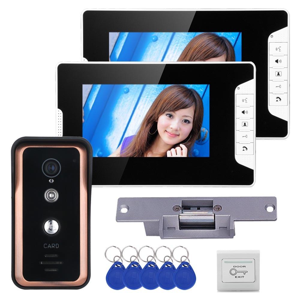 Wired 7 Inch RFID Video Door Phone Video Intercom Doorbell System 2 Monitor 1 IR-CUT Camera + Electric Magnetic Lock