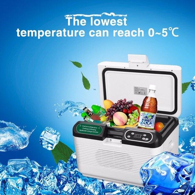 DC 12V/24V 12L Portable Mute Design Dual-core Mini Auto Fridge Truck Home Freezer Travel Car Refrigerator Cooling to 5 Degree