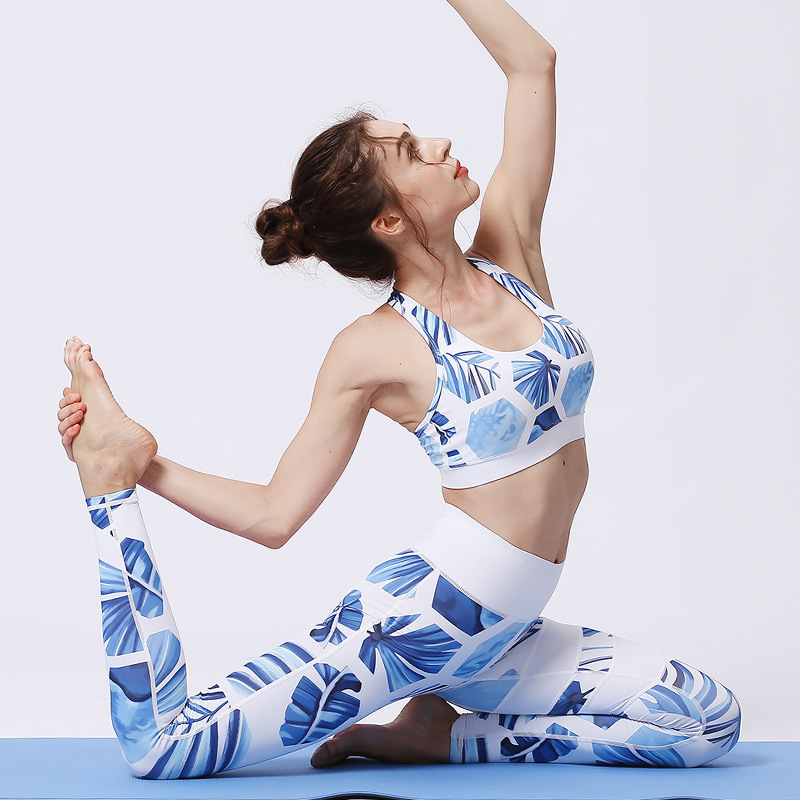 Women Sport Suit Elastic Compression Leggings Yoga Top Bra pant Running Jogger Fitness Gym Workout Outfit Yoga Set Sportswear in Yoga Sets from Sports Entertainment