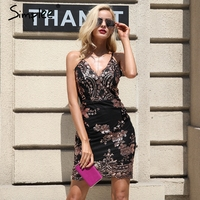 Simplee Sexy Club Strap Backless Mini Dress Women V Neck Sequin Party Dresses Vestidos 2017 Skinny