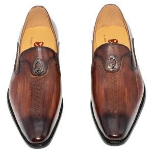 Image 4 - sapatos masculino social bico fino Metal decoração Lavar à mão cor Marrom Amarelo Sapatos de couro