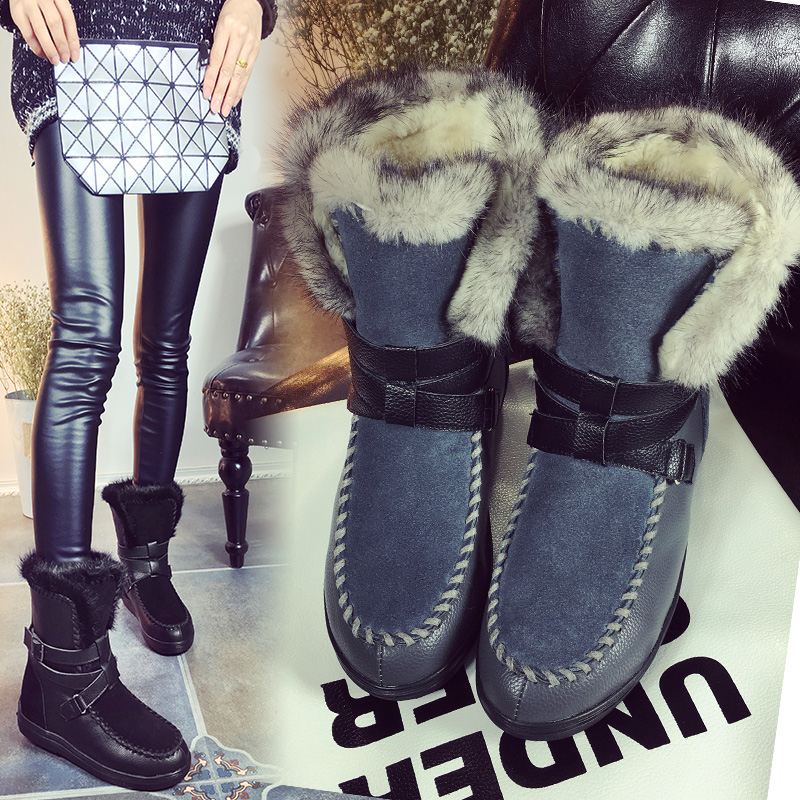Charming 2017 Real Big Rabbit Fox Fur Girls Genuine Cow Leather High Snow Boots For Women Winter Boots Flats Shoes High Quality 2017 winter new clothes to overcome the coat of women in the long reed rabbit hair fur fur coat fox raccoon fur collar