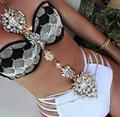 3 Color de Lujo Gem Stone Flower Largo Maxi Cintura Cuerpo Cadena Collares de Oro de Verano Bikini Body Joyería Accesorios Collar