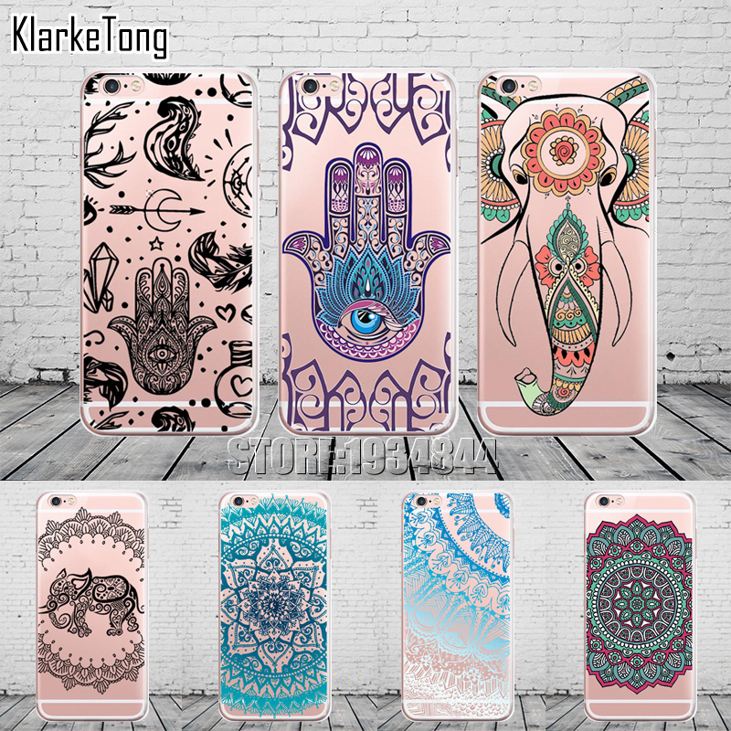 Mandala Elephant Indian Hamsa Pattern Phone Case For iPhone 6 6s 5 5s se 7/7Plus 8 X Transparent Silicone Protective Cover Coque ...