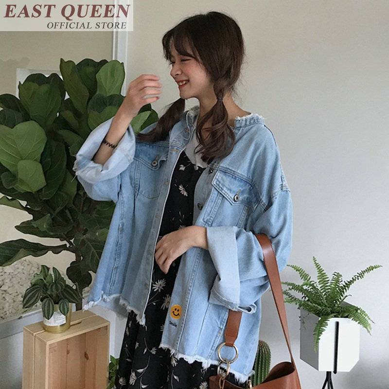 Jeans   jackets   for outerwear stand collar full flare sleeve solid   basic     jacket   pockets fashion female denim clothing DD728 L