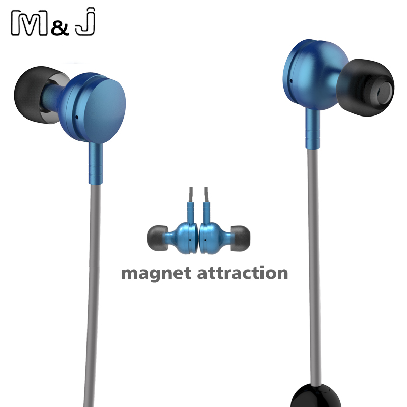 Jiabosi New Wireless Bluetooth 4 1 Stereo Earphone Magnet Metal Earbuds Sport Running Studio Music Earphone