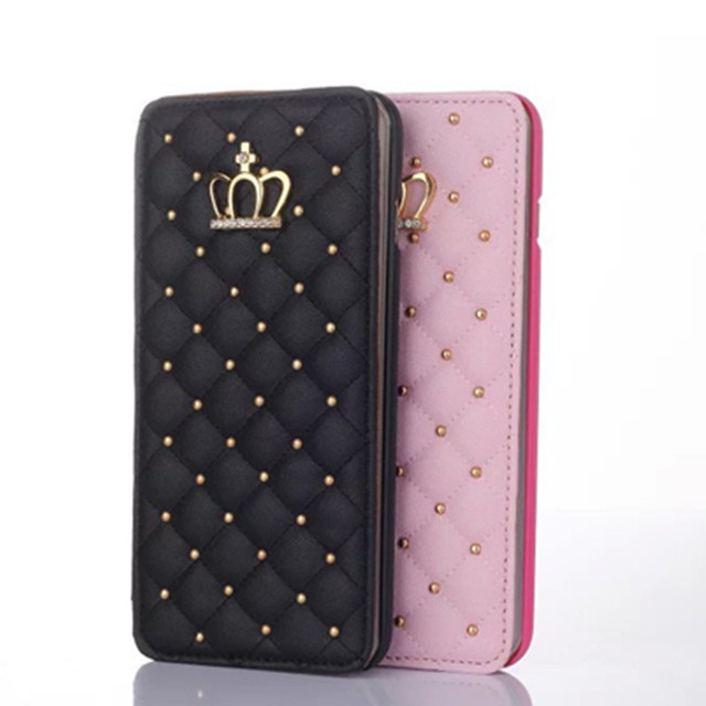 Fashion Cases For iphone 7 7Plus Women Crystal Crown Plaid Checks Rivet  Leather Pouch Girls Card Slots Wallet Skin Cover BA896 e06a2f8d95