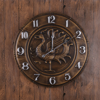 Large size personalized wall clock antique vintage round Suzaku pattern wall clock creative art metal wall clock home decoration
