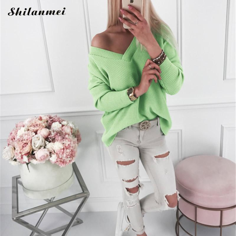 2019 Autumn Sweaters Jumper Women Knitted Pullover Sexy V Neck Solid Long Sleeve Causal Sweater Pull Femme Fashion Women Sweater