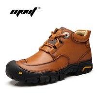 Handmade Men Boots Genuine Leather Ankle Boots Waterproof Outdoor Walking Shoes Men Footwear Plus Size Autumn
