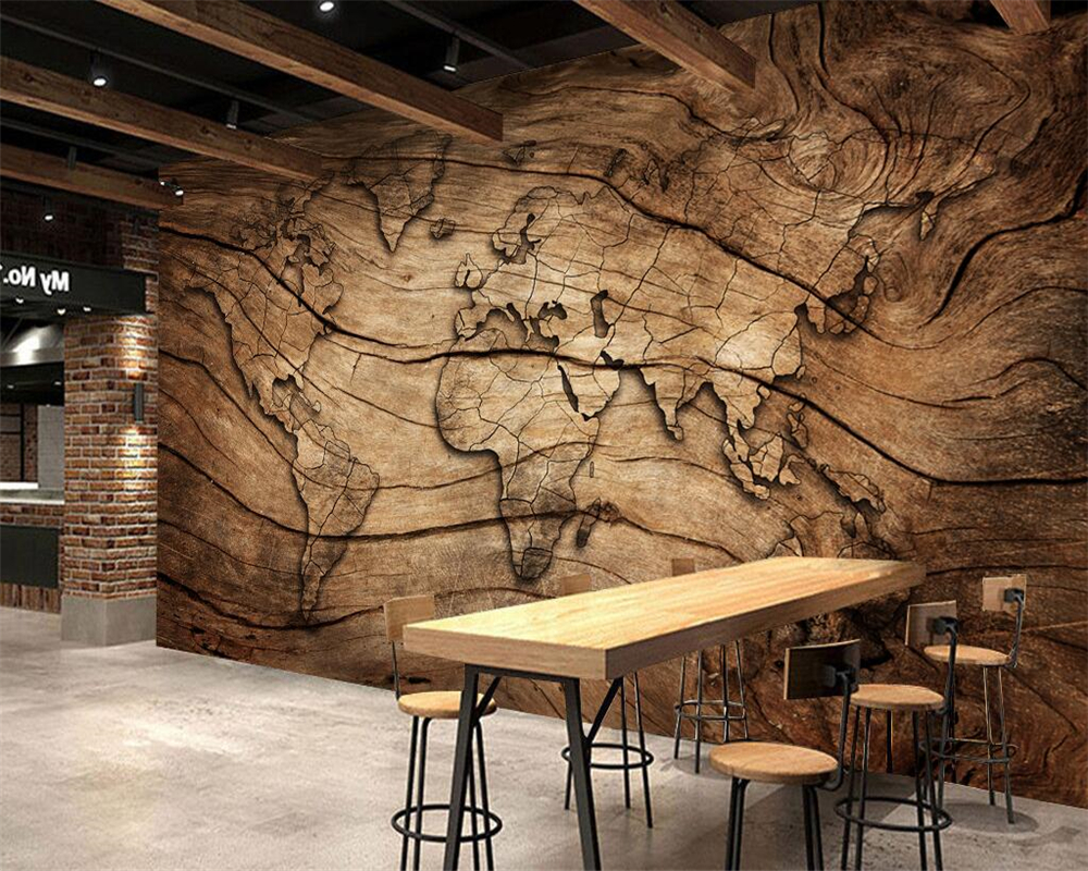 Beibehang Custom Wallpaper Vintage Wood Grain World Map Background Wall Living Room Bedroom TV Background Mural 3d Wallpaper