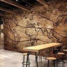 Papel pintado personalizado Beibehang mapa del mundo de madera vintage Fondo pared sala de estar mural de fondo de TV para dormitorio papel tapiz 3d