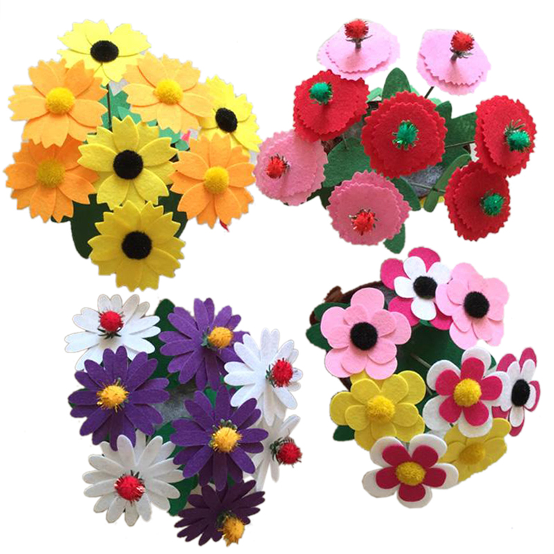 2PCS Artificial Flower Pot DIY Non woven Artificial Flower Pot Hand Toys Early Educational Toys Kids