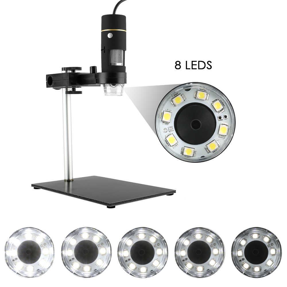 KKmoon USB Microscope électronique 0.3MP 1000X 8LED Microscope numérique caméra Endoscope OTG fonction Zoom vidéo loupe + support