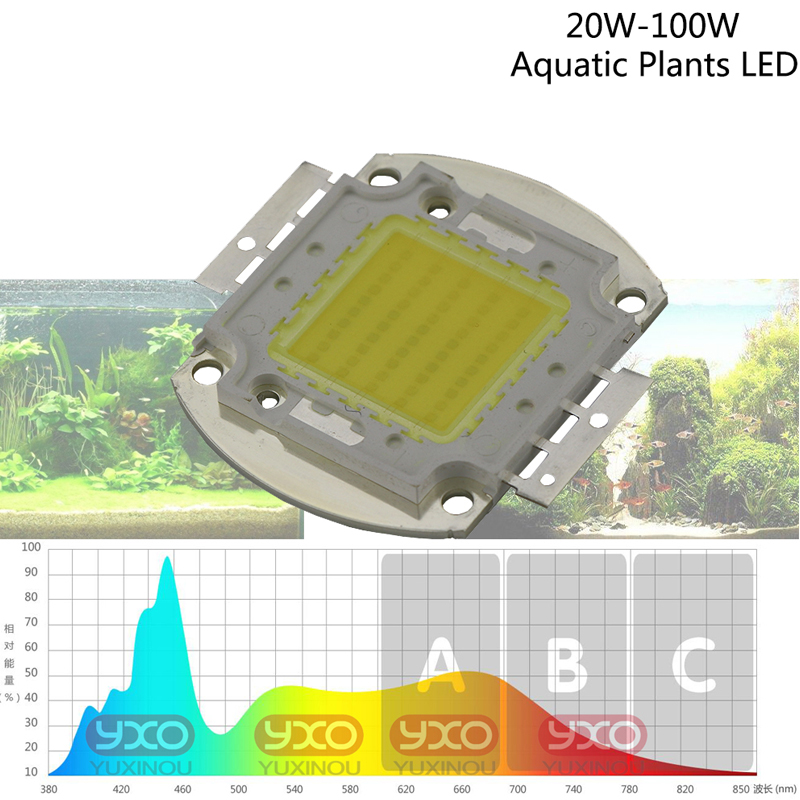 1pcs White Full Spectrum LED Aquarium Chip 6800K & 380-780nm 20W 30W 50W 100W Aquarium Plant Grow Light Source Epistar Diodes