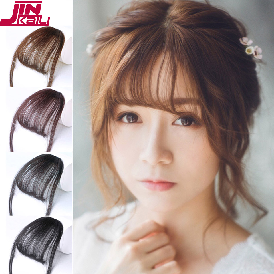 JINKAILI Synthetic Hair One Piece Straight Clip in Hair Extensions Flat Air Fringe Front Bangs with Hair Temples