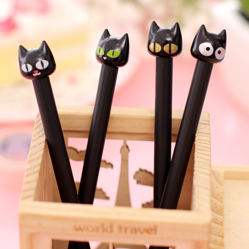 4PCS/lot  Novelty Black Cute Cat Head Gel Ink Pen Promotional Student Gift Stationery School Office Writing Pens Creative Stylus