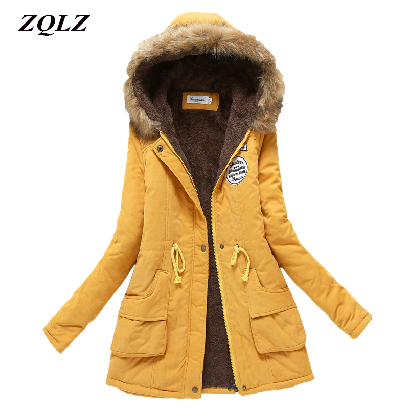 Zqlz 2018 Faux Fur Hooded   Parka   Mujer Winter Cotton Padded Jacket Women Plus Size 3xl Autumn Thick Long   Parkas   Female Coat
