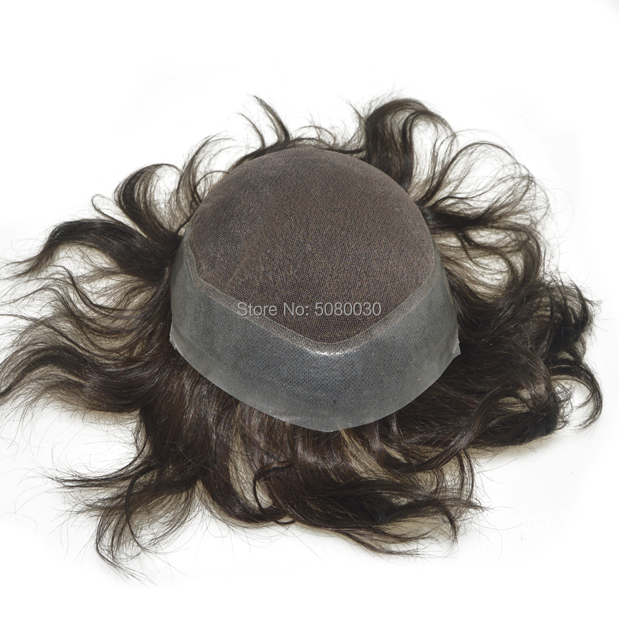 100% Human India Hair Base 8*10inch Top French Lace With Around Thin Skin 6inch Hair Length Stock Men Toupee