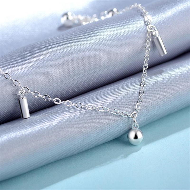 KOFSAC Summer New Glossy Round Beads Bells Ankle Chain Bracelet 925 Sterling Silver Anklets For Women Jewelry Girl Best Gifts