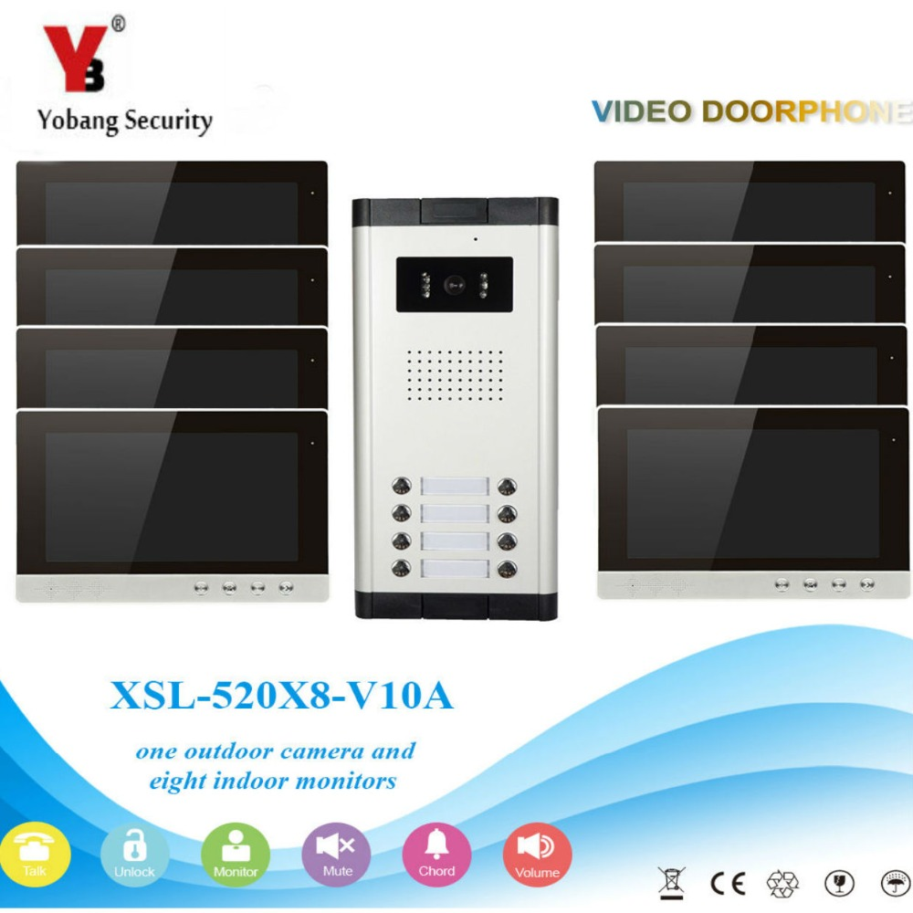YobangSecurity Video Intercom Monitor 10-Inch Video Doorbell Camera System Intercom Entry Access System For 8 Units Apartment