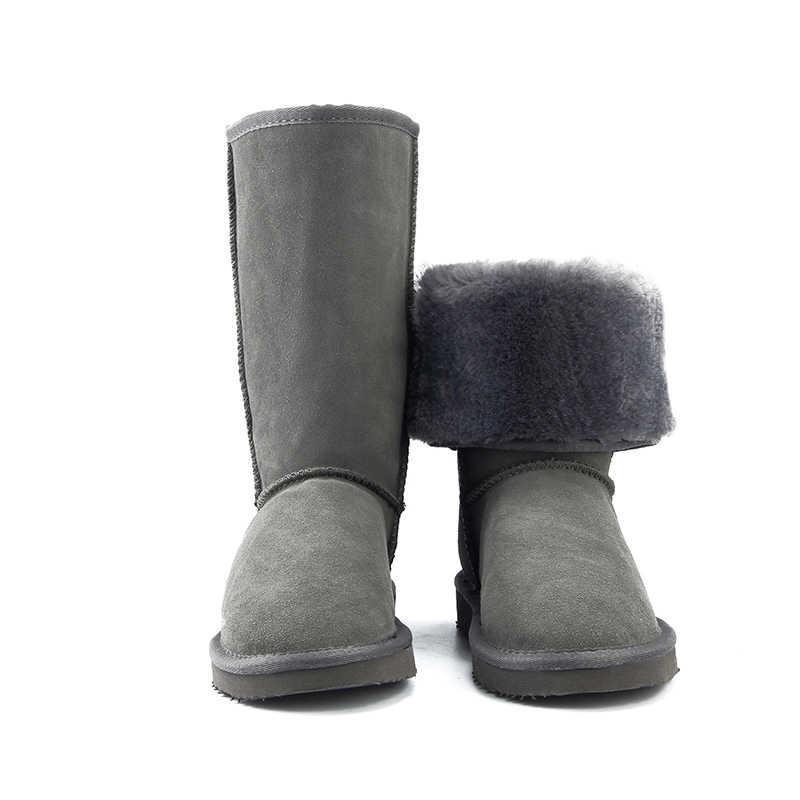 JXANG คุณภาพสูงรองเท้าบู๊ตหิมะรองเท้าผู้หญิงแฟชั่นของแท้หนังออสเตรเลียสตรี Boot ฤดูหนาวรองเท้าผู้หญิงรองเท้าขนาด