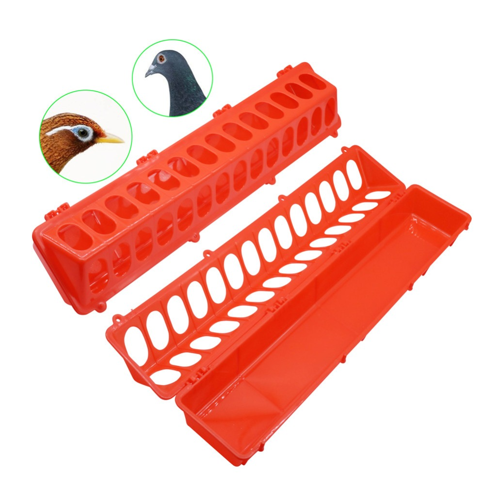 1 pcs LARGE Pigeon Or Bird Feed Trough 50.5*10.5*7.5cm 14 Round Holes Red Plastic Material Poultry Feeding Equipment