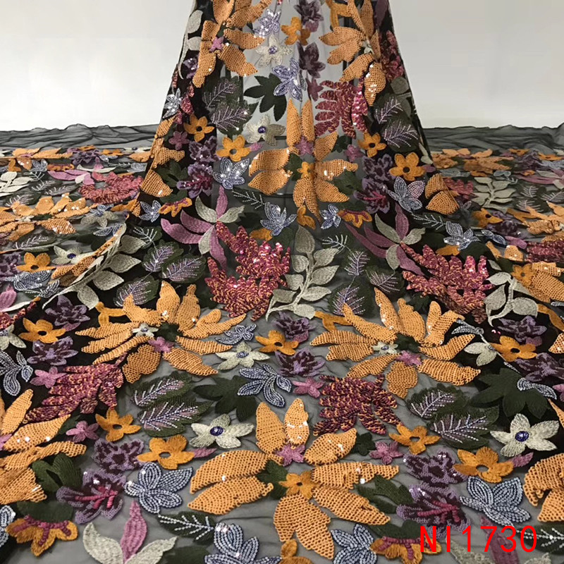 Ev ve Bahçe'ten Dantel'de Son Afrika Kumaşlar Çiçekler Yüksek Kalite 2019 Nijeryalı Net Dantel payetli kumaş Dizisi Dantel Kadın Elbiseler için NI1730 1'da  Grup 3