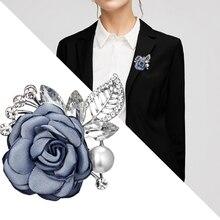 Blue Flower Brooch Korean Vintage Cloth Art Fabric Pin for Women Ladies Shirt Collar Dress Gift