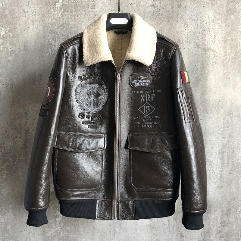 2019 New Fur One Men's Jacket Leather Leather Embroidered Badge Sheep Leather Men's Motorcycle Fur Jacket Fashion Lapel Cashmere