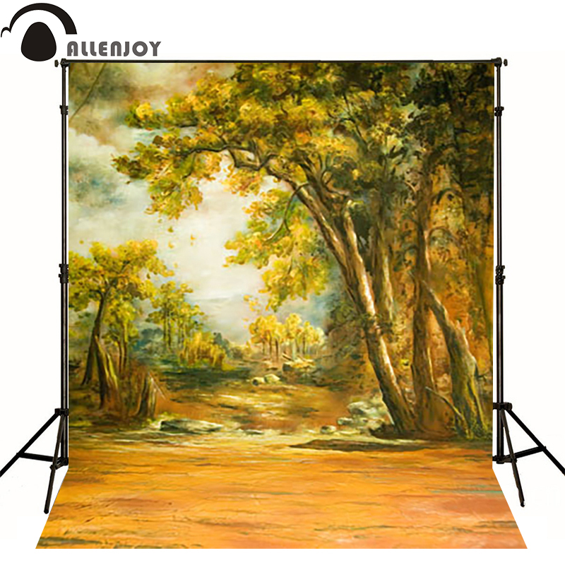 Allenjoy vinyl backdrops for photography Autumn trees yellow sunset photo background baby kid photocall cute 10x10
