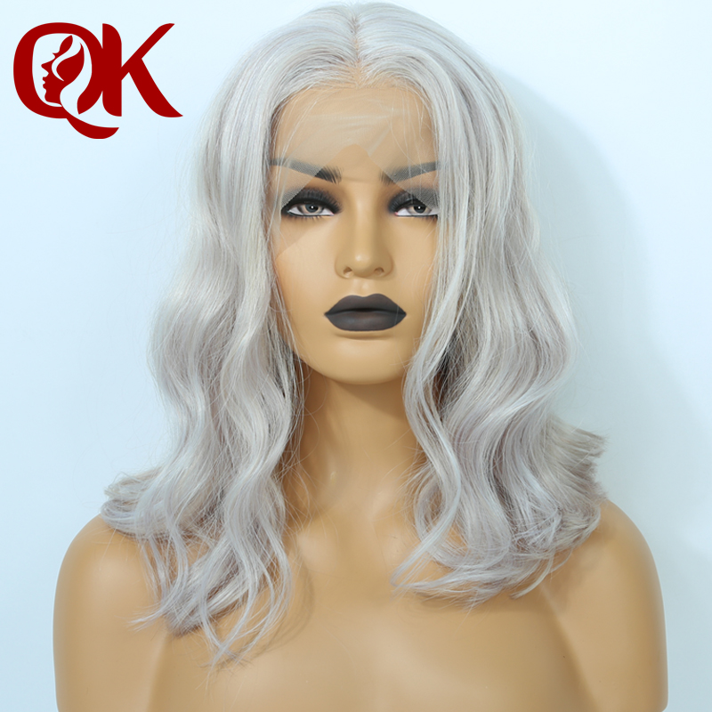 Queenking Hair Grey Ash blonde Remy Hair Color Wig Short Human Hair Bob Lace Front human