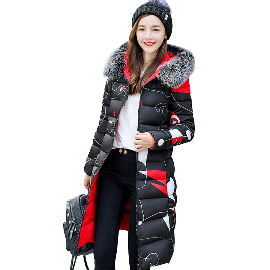 2018 winter coat women   parka   down large fur collar long jacket with a hood padded cotton outwear winter jacket feamel plus size
