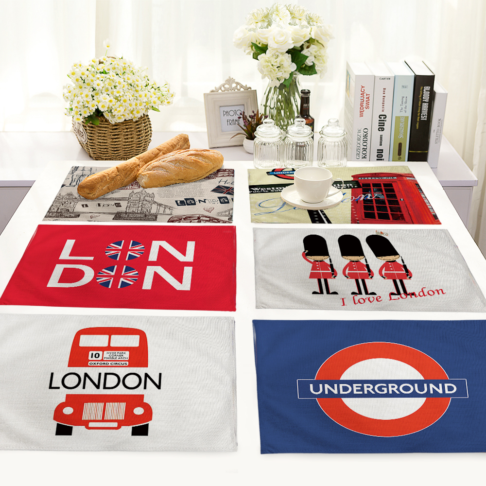 Cartoon london Pattern Table Mat Animal Table Napkin Placemat Kitchen Decoration Dining Accessories 42x32cm MC0028