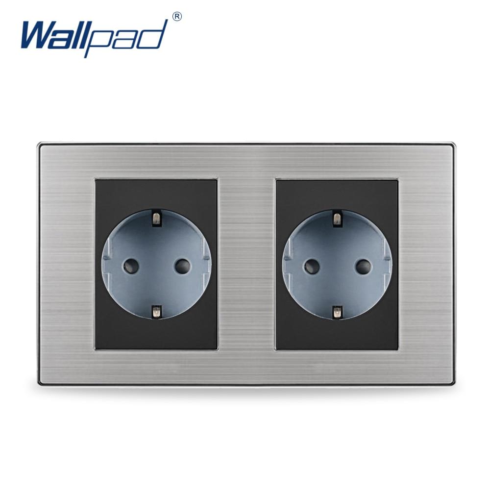 2019 Hot Sale Dual 2 Pin EU Socket Schuko Wallpad Luxury Wall Electric Power Socket German Standard 16A AC110~250V 160*86mm