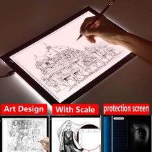 1 шт. A4 цифровой графический планшет для рисования+ ручка светодиодный светильник, коробка для отслеживания, копировальная бесступенчатая Затемняющая доска, живопись, письменный стол