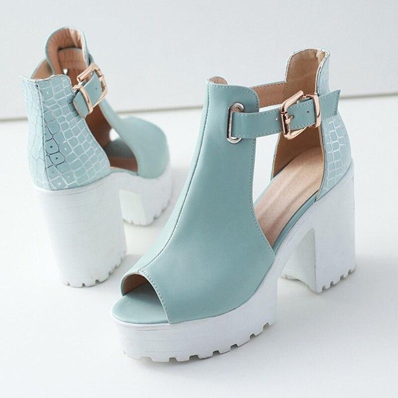 2016 Mode Sommer Pumpen Peep Toe Damen High Heels Sexy Weiß Plattform Schuhe Frau T-strap Schuhe Sandalen