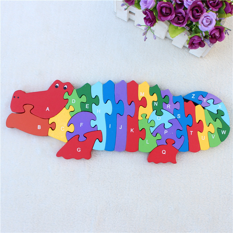 JP057 Double Sides Children Wooden Toys Alphabet Number Building Jigsaw Puzzle Crocodile Funny Digital Puzlzle Game Educational