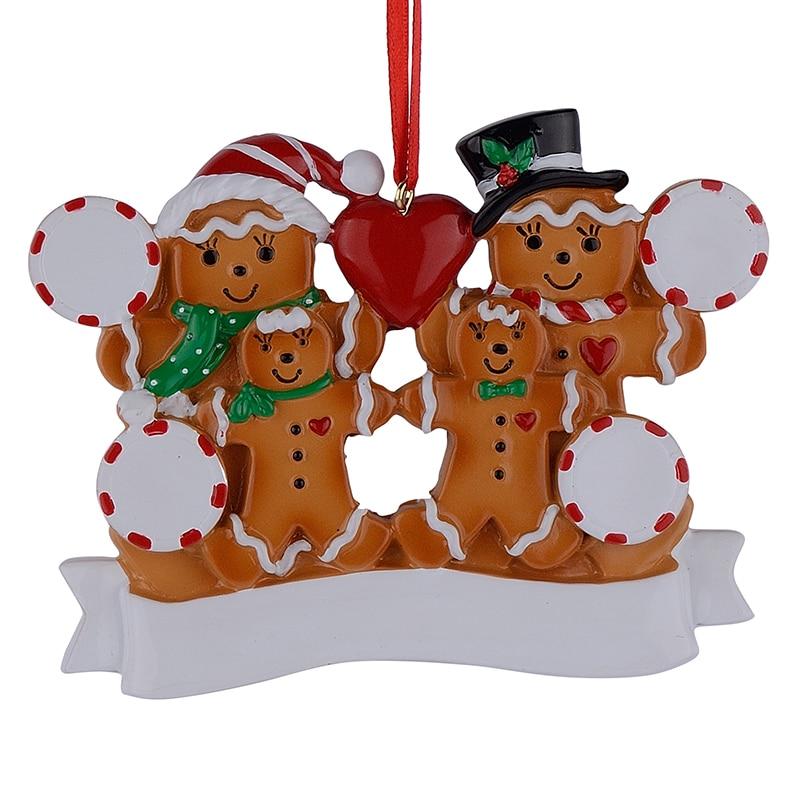 Groothandel peperkoek familie van 4 hars Kerst ornamenten met rode - Feestversiering en feestartikelen - Foto 2