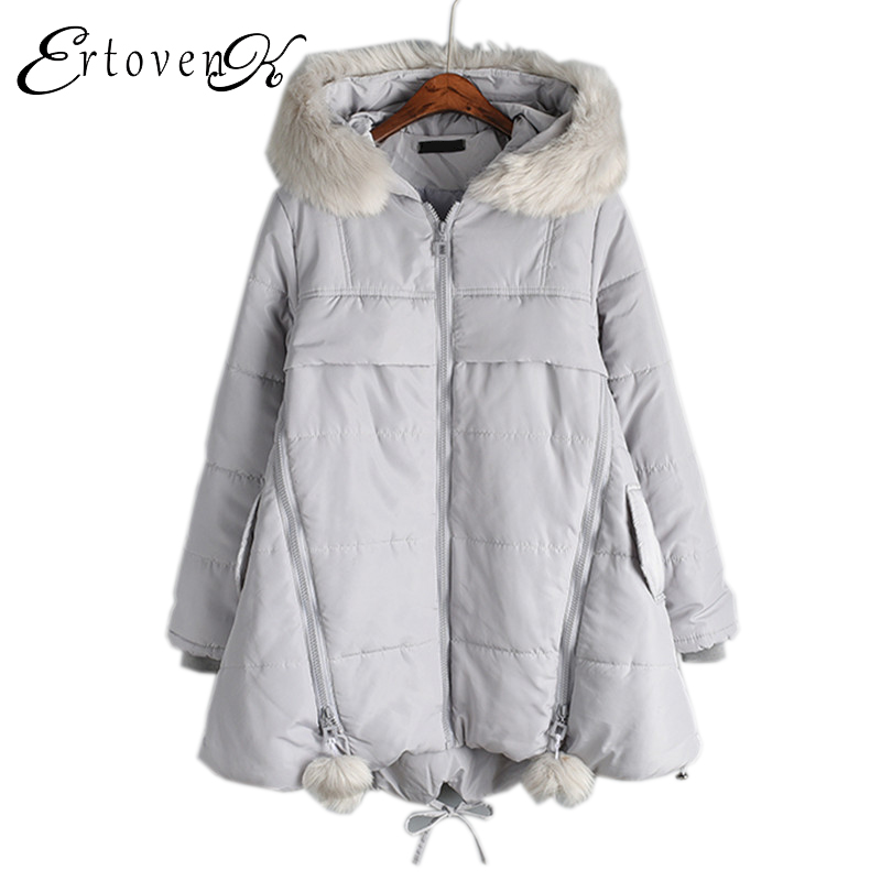 Removable large Fur collar Warm Jacket New Winter 2017 Women Coats Thicken Loose Plus size Hooded parkas Female Outerwear C20 2015 new hot winter thicken warm woman down jacket coat parkas outerwear hooded splice mid long plus size 3xxxl luxury cold