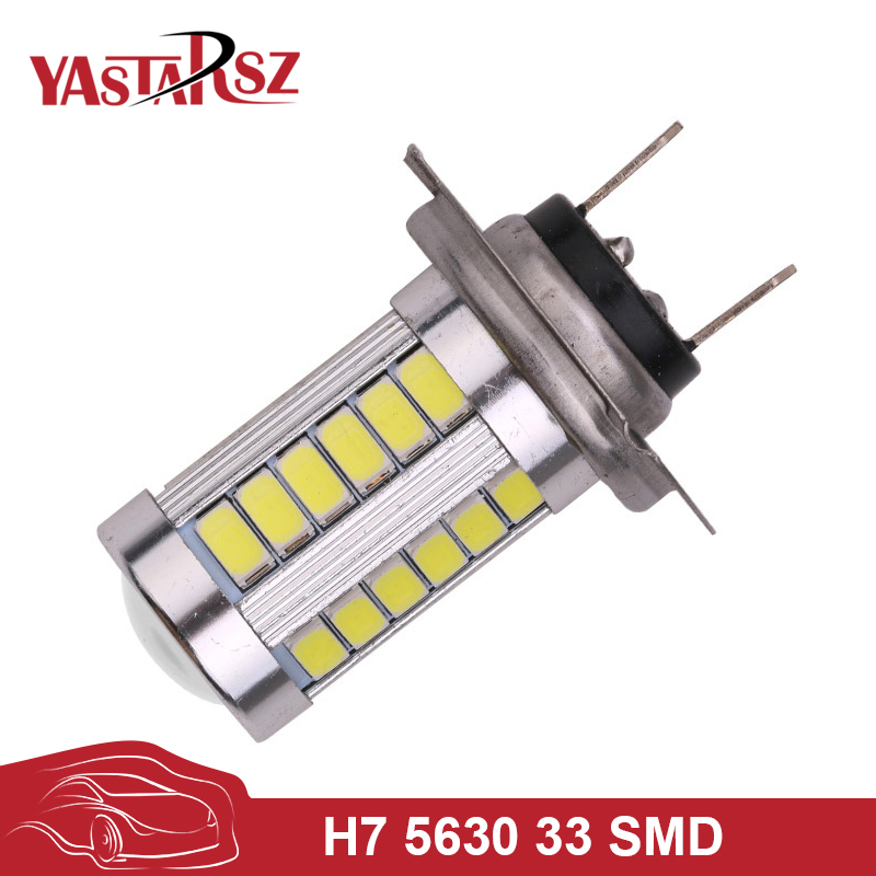 YAstarsz car light bulb H7 super bright head light white 5630 SMD 33 LED car auto lens fog light drive light bulb DC12V 1pcs car led dc12v h8 fog lamp bright led light bulbs drl 33 5630 smd with lens xenon white ice blue yellow 2z9