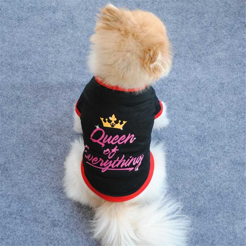 בגדי כלב יורקשייר טרייר בגדי קיץ כלב וסטים אותיות המלכה של הכל כתר חולצות לכלבים קטנים צ 'יוואווה שחור T חולצה