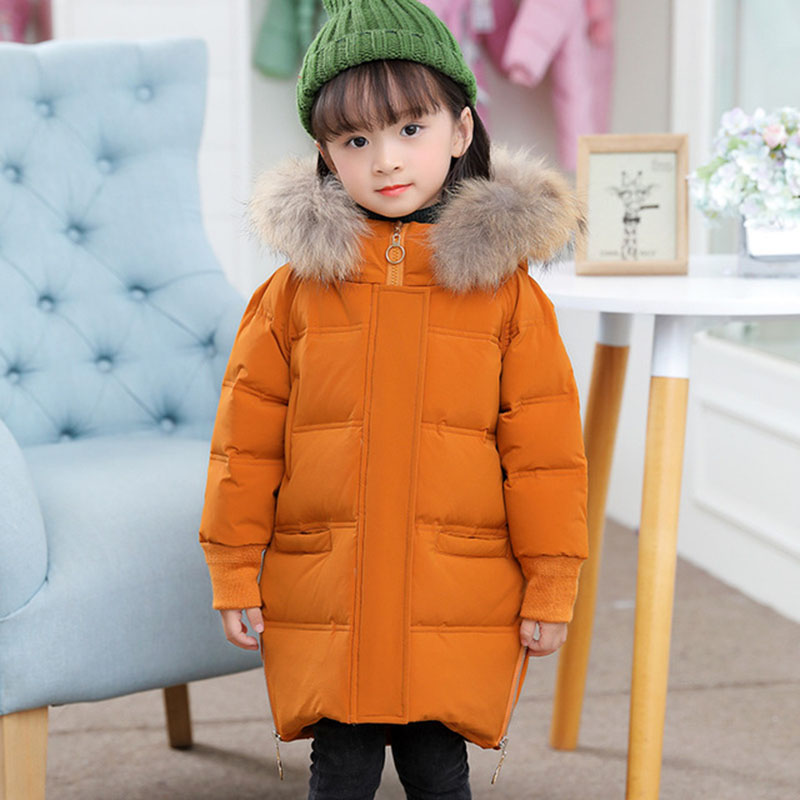 2018 New Girls Winter Duck Down Jackets Kids Parka Fashion Fur Collar Thickening Warm Hooded Outerwear Coats 3 4 5 6 7 8 Years buenos ninos thick winter children jackets girls boys coats hooded raccoon fur collar kids outerwear duck down padded snowsuit