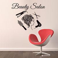 Hair Wall Decals Nail Beauty Salon Decal Vinyl Sticker Comb Bedroom Decor