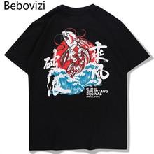 Bebovizi Japanese Koi Wave Printed Tshirts Streetwear Men 2019 Hip Hop Hipster Casual T Shirts Harajuku Male Short Sleeve Tops